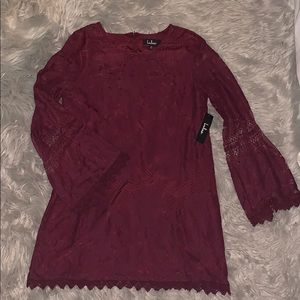 Maroon Lace Shift Mini Dress